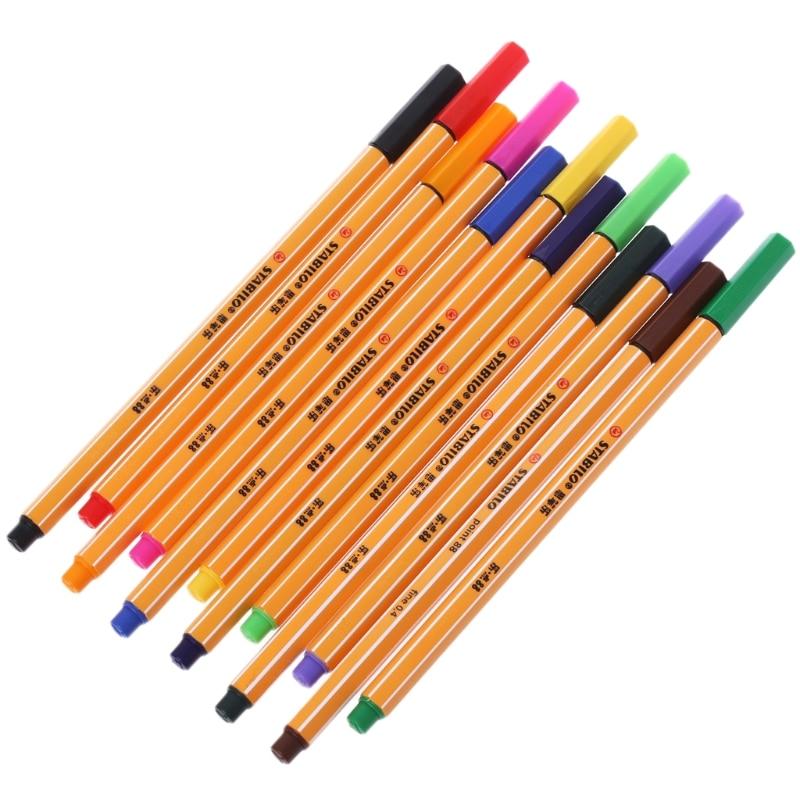 12 piezas de color de la pluma Stabilo de fibra de bolígrafo papelería oficina escuela suministros