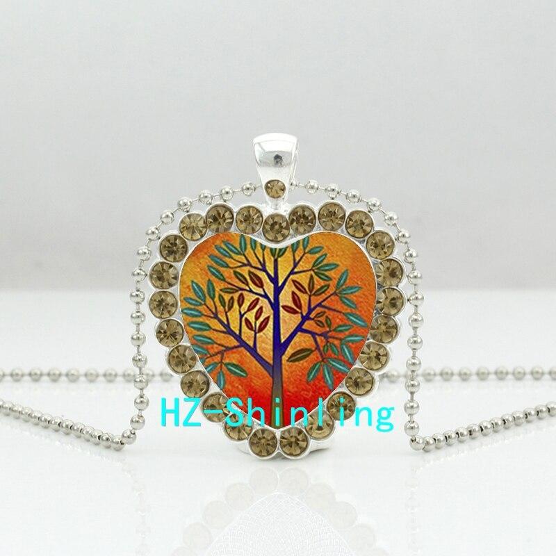 New Orange Tree Crystal Necklace Smiling Moon Tree Heart Pendant Tree Jewelry Crystal Pendant Necklace HZ6