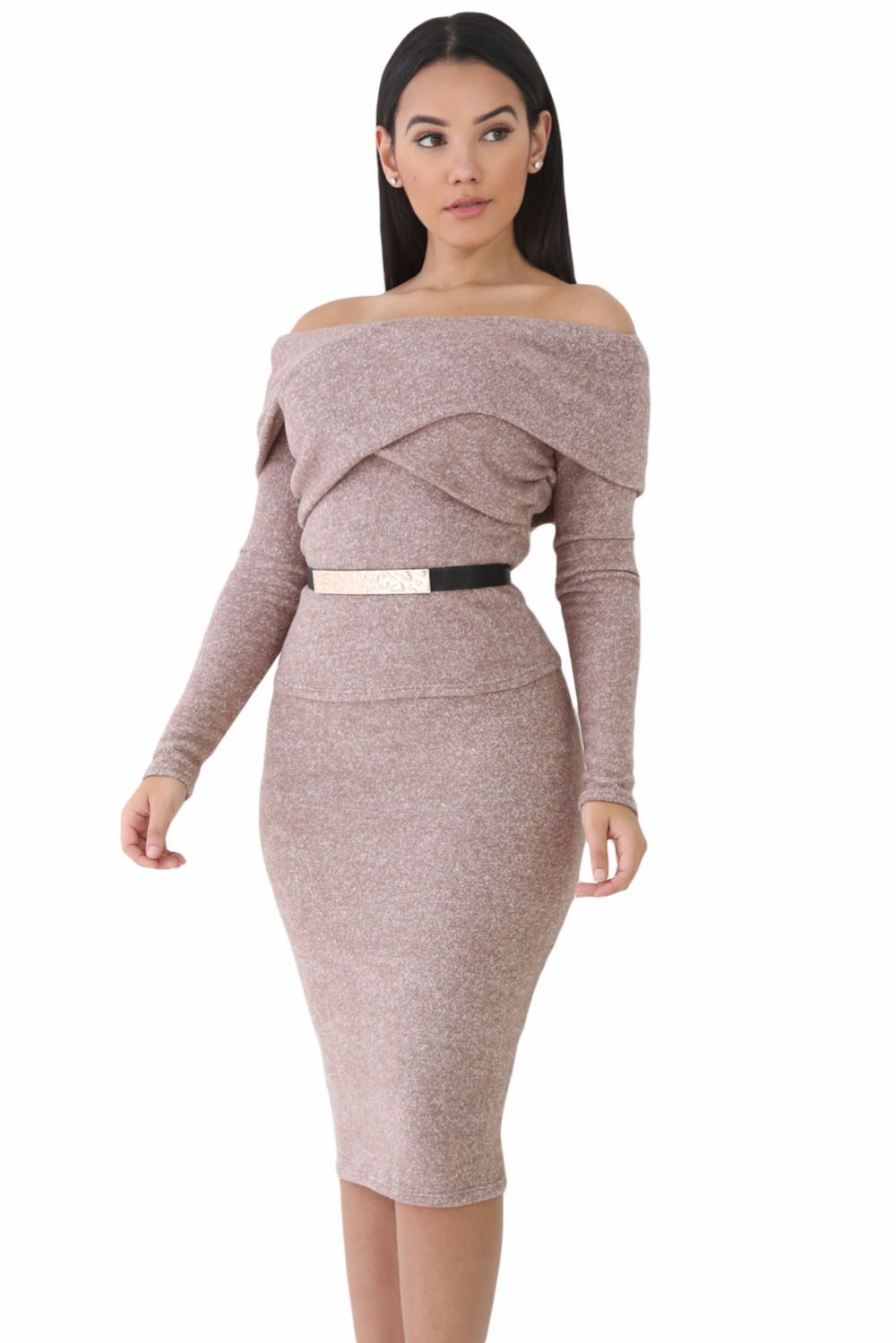 a12ee12f3631e New 2017 Women Sets 2 Piece Bodycon Outfits Heathered Black Brown ...