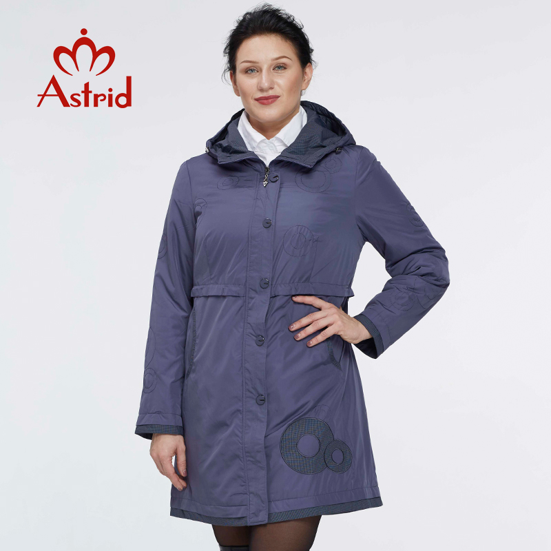 Astrid 2019 Women   Trench   Coat Women's Fashion Long Sleeve pattern embroidery casual women down Hooded Plus Size freeship AS-9568