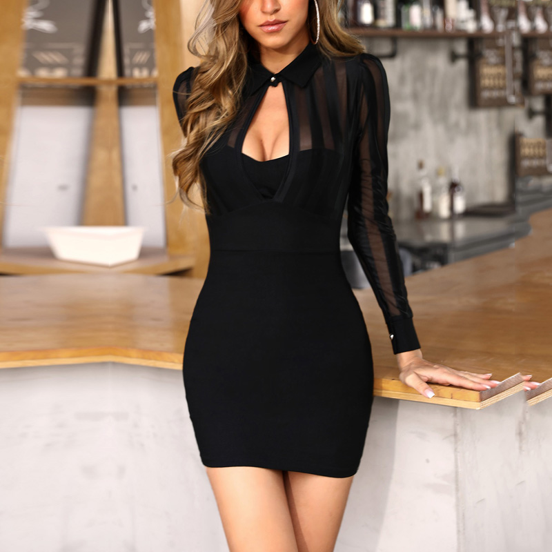 Women Patchwork Slim Fit See Through Sexy Mini Cocktail Party Dresses OL Workwear Sheer Mesh Bodycon Dress