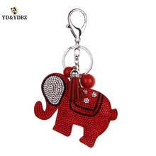 YD&YDBZ Fashion Cute Rhinestone  Keychain Jewelry Car Keychains Glamour Lady Bag Pendant Key Chain Red Elephant Pendant недорого