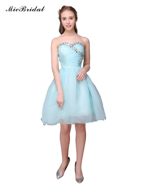 Feestjurken.Aqua Blue Girls Ball Short Cocktail Dresses Mini Sexy Party Gown