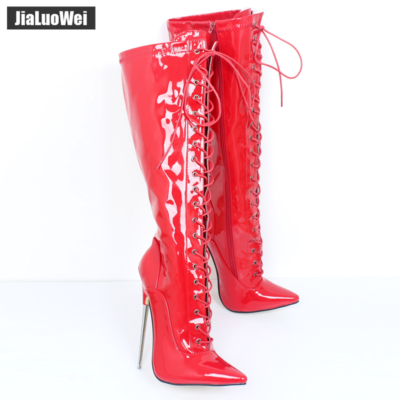 Jialuowei 6 1/4 Solid Brass Heel Stretch Lace Up Single Soles Motorcycle Boots Pointed Toe metal Thin Heels Shoes size 36-46