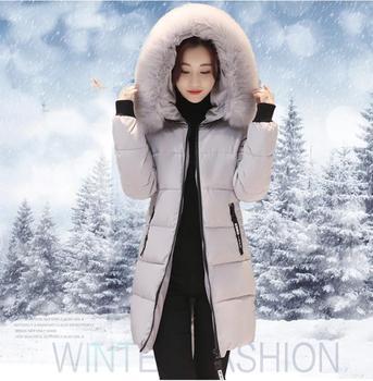 0b990c4d894bc 2019 Yeni Kış Kadın Temel Ceket Kapşonlu Kalın Sıcak Orta uzun Aşağı Pamuk Ceket  Moda Uzun kollu Ince Büyük metre parkas
