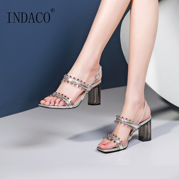 Shoes Woman Sandals 2019 Transparent High Heel Shoes Rhinestone Bling Sandals