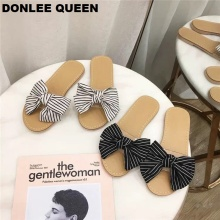 купить DONLEE QUEEN Women Slippers Shoes Flip Flops Summer Fashion Gingham Bow Tie Flat Heel Transparent PVC Sandals Slipper Beach Shoe по цене 1180.01 рублей