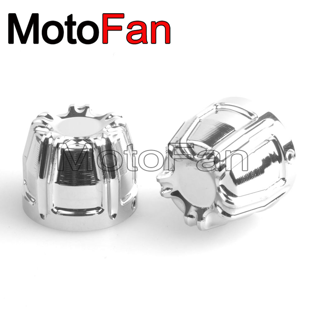 Motorcycle Front Axle Nut Caps Covers Chrome Kit for Harley Davidson Dyna Wide Glide EFI Electra CVO Ultra Classic Breakout FXSB a set chrome vintage shape saddle bridge for 5 string electric bass guitar top load or strings through body
