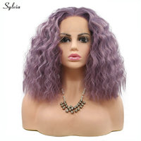 Sylvia Short Water Wave Wig Natural Hairline Lavender Purple Wig Synthetic Lace Front Wig Cosplay For Women's Party Light Colors