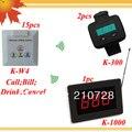 Servicio al cliente número de 15 botón de la pared K-W4 y 1 monitor LED K-1000 y 2 K-300 reloj suena DHL libre gratis
