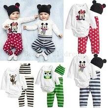 Stripes ползунки о-образным устанавливает вырезом hat наборы девочки новорожденных мальчик мальчики