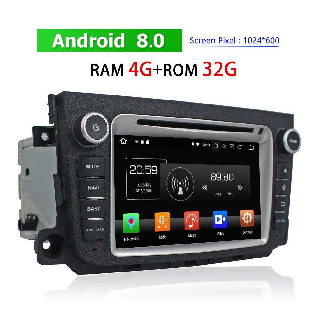 Lecteur DVD de voiture Double Din pour mercedes-benz Smart 2011 2012 Android Auto Radio GPS Navigation Bluetooth TV lecteur multimédia de voiture