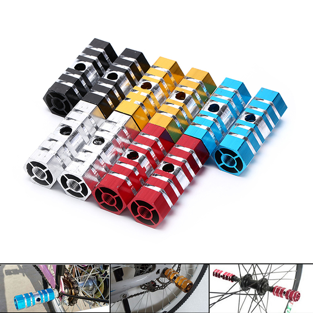 2 sztuk rowerów pedały rowerowe tylne mosty ze stopu aluminium ze stopu aluminium kaskaderów podnóżki pedał dla rowerów jazda na rowerze rower części 5 kolorów