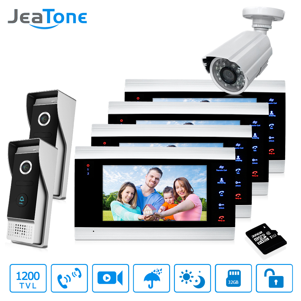 7'' Video Door Phone Doorbell Intercom 2 to 6 Access Control Intercom System Motion Detection +1200TVL Outdoor Camera + 32G Card jeatone 7 inch video door phone video intercom 1200tvl outdoor call panel 1200tvl analog camera access control system doorbell