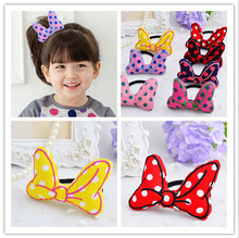 FQ020 Good Quality Lovely dot print Mikey knots hair bands girls elastic band colored stereoscopic bow ropes