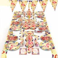 Flamingo Usa E Getta Partito Set Da Tavola Decorazione di Estate Festa in Piscina Hawaiian Decorazioni Del Partito Festa di Compleanno Decor Baby Shower