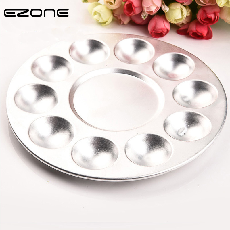 EZONE 10-Hole Aluminum Circular Palette Art Paint Drawing Tray Color Palettes For Oil Watercolour Painting Pallet Office Supply