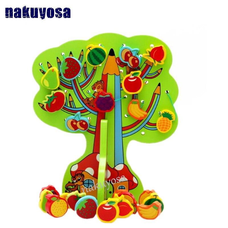 ᗗBebé niños montessori Juguetes madera colorido fruta Cuentas ...
