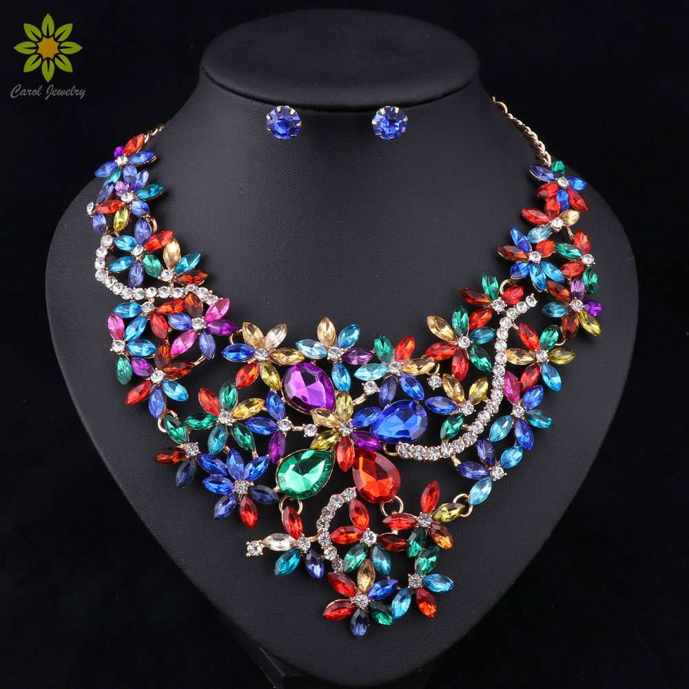 5Color Bridal Jewelry Sets Wedding Necklace Earrings For Brides Party Accessories Gold Color Crystal Jewelry Sets For Women