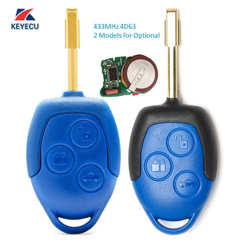 KEYECU 2 Models for Optional Replacement Remote Key 3 Button 433MHz 4D63 for Ford Transit WM
