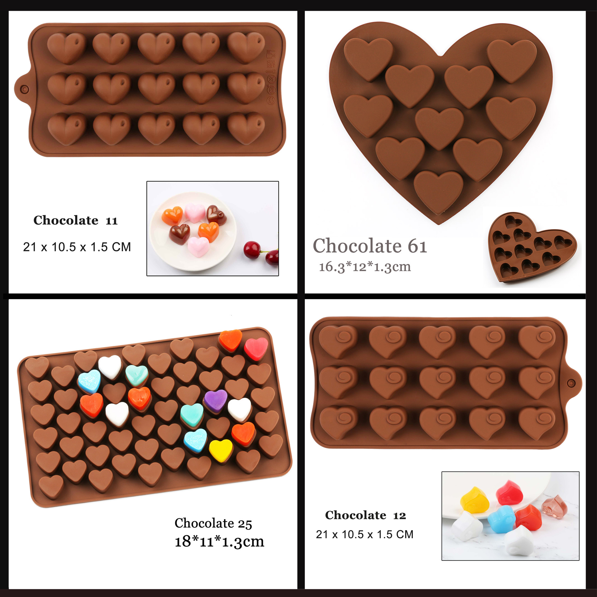 USUN Heart Shape Silicone Mould Chocolate Candy Jelly Tray Cake Decor 3D Mold