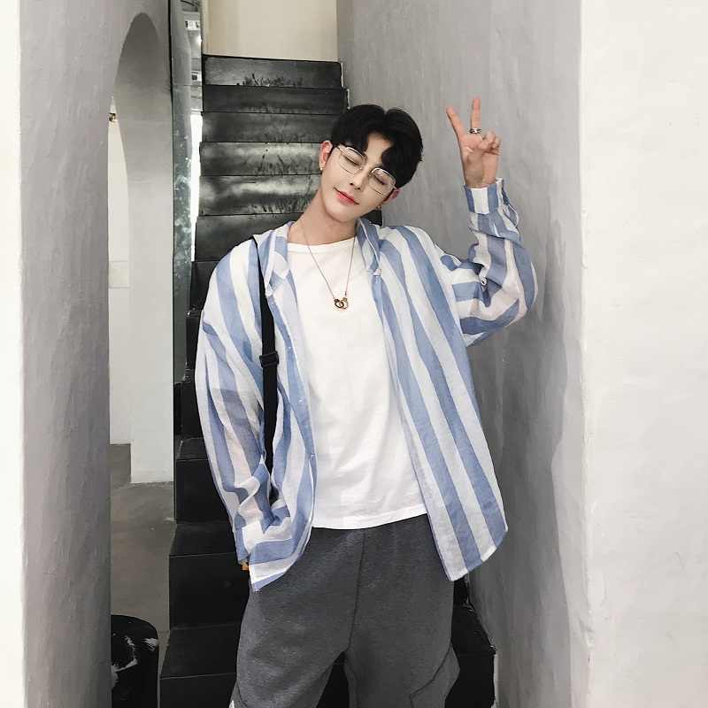 夏のフード付きシャツの男性のストライプ軽量ハワイシャツ 2019 新韓国長袖シングルブレストメンズシャツ