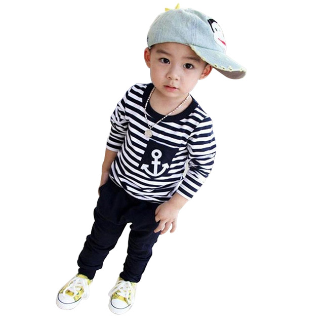 2018 Spring Kids Clothes Navy Long Sleeve Pullover Striped Shirts + Pants 2pcs Sports Suit Hot Sale Casual Boys Clothes Set