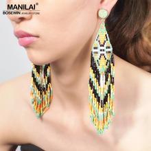 MANILAI Bohemian Beaded Long Tassel Earrings For Women Handmade Multicolor Beads Statement Dangle Ethnic Jewelry