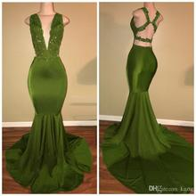 robe de soiree abiye Mermaid Olive Green Prom Dresses Long Lace Sequin Backless Deep V Neck evening Dress 2019 Evening Gown