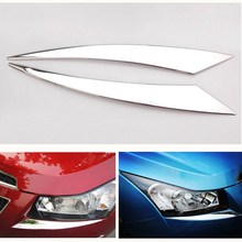 Car Headlight Cover Trim Chrome Lamp Eyebrow Styling Sticker Auto Accessories For Chevrolet CRUZE 2009 2010 2012 2013 2014 2015 hot sale car accessories steering wheel cover sticker case for chevrolet cruze trax hatchback sedan 2012 2013 2014