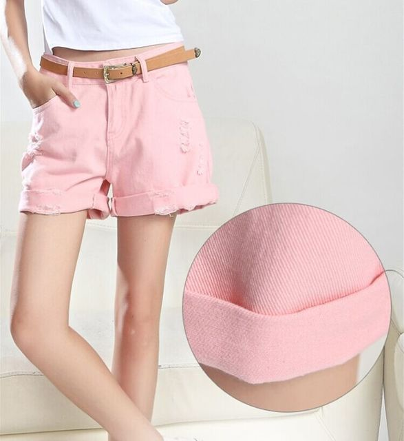 Shorts Femininos 2017 Summer Women Vintage Shorts Jeans Female American Brand Denim Jeans Shorts For Women Candy Color White RU