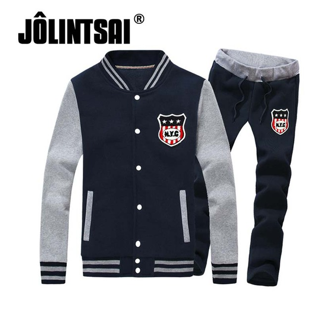 Jolintsai Men Embroidery Hoodies And Sweatshirt Sporting Suit Mens Sweat Suits Mens Tracksuits Set Bomber Jacket+Pant