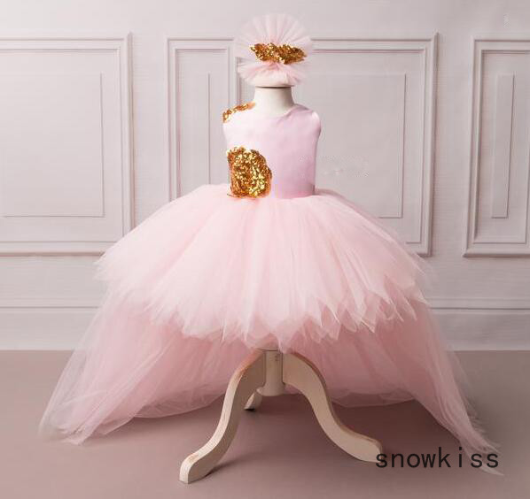 Summer puffy tulle kid pink flower girl dress high low baby backless first birthday gown for prom party with headpiece and train lilac tulle open back flower girl dresses with white lace and bow silver sequins kid tutu dress baby birthday party prom gown