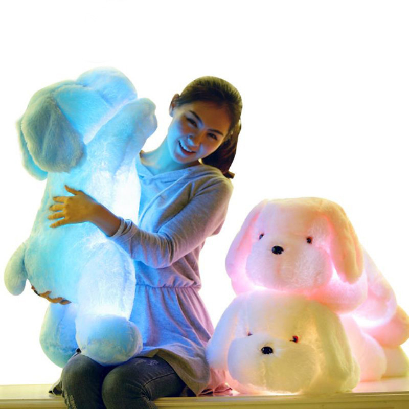 50/35cm Hot Sale Colorful Luminous Teddy Dog LED Light Plush Pillow Cushion Kids Toy Stuffed Animal Doll Birthday Gift For Child