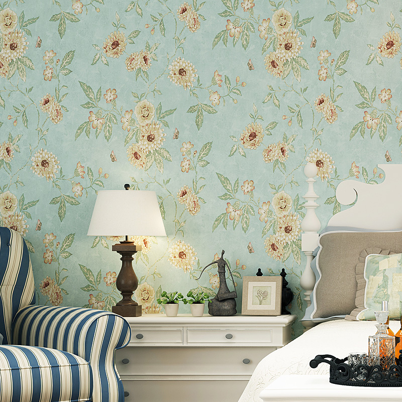 living bedroom background country decor flower amerian wallpapers