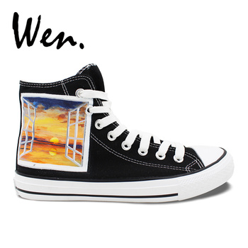 Wen Original Black Hand Painted Shoes Design Custom Window Scenery Sunset High Top Canvas Sneakers for Birthday Christmas Gifts
