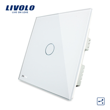 LIVOLO, Touch Switch, 1-gang 2-way UK Touch Light Switch AC 220-250V VL-C301S-61 with LED indicator, White Crystal Glass Panel