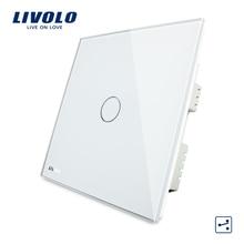 Livolo, сенсорный выключатель, 1-банды 2-способ Великобритания сенсорный выключатель света AC 220-250 В VL-C301S-61 со светодиодным индикатором, белый кристалл Стекло Панель