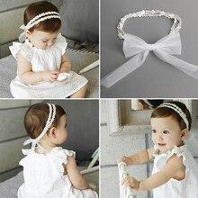 2018 1 Pcs Baby bow girls Lace Headbands pearl flowers Headband Headwear Hair Band Accessories Girls Christmas Gifts