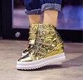Nueva pu mujer Aumento de la Altura zapatos de color Brillante Plana con zapatos de ocio para las mujeres conveniente Hook & Loop Calzado