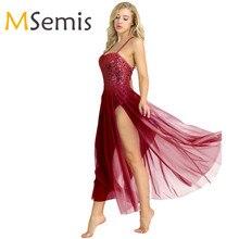 נשים מבוגרים בלט שמלת כותנה ספגטי רצועת שרוולים נצנצים בגד גוף בגד גוף בלט Dancear עם פיצול רשת מקסי חצאית