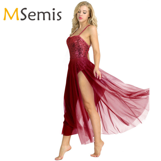 Women Adult Ballet Dress Cotton Spaghetti Strap Sleeveless Sequined Leotard  Bodysuit Ballet Dancear with Split Mesh Maxi Skirt