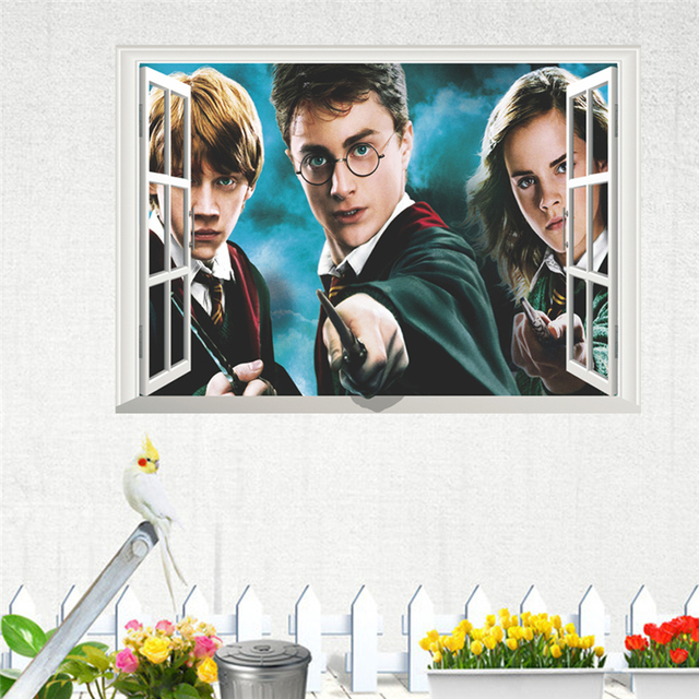 Us 2 59 22 Off Harry Potter 3d Wall Hole Poster Hogwarts Wall Stickers Wizarding World School Decorations For Kids Room Decals Decorative Decor In