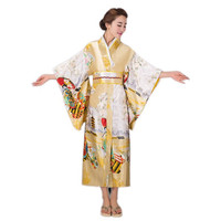 Gold Lady Japanese Fashion Traditional Silk Kimono Gown Yukata With Obi Evening Dress Stage Performance Costumer One Size
