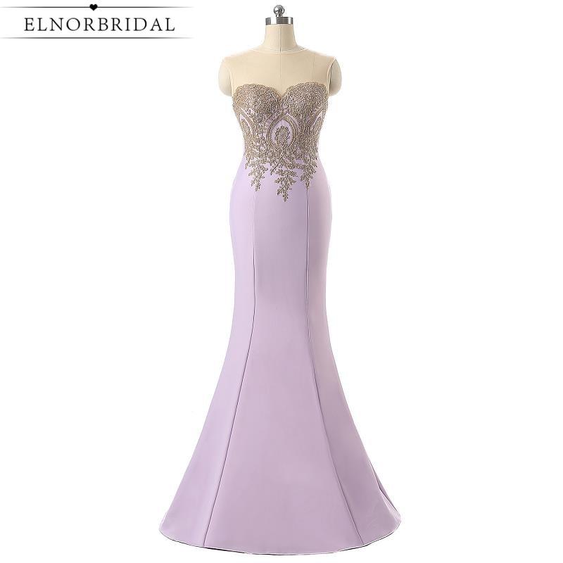 Lavender Prom Dress Mermaid 2017 Sexy Birthday Dresses Robe De Soiree Longue Satin Cap Sleeve Sheer Formal Women Evening Gowns