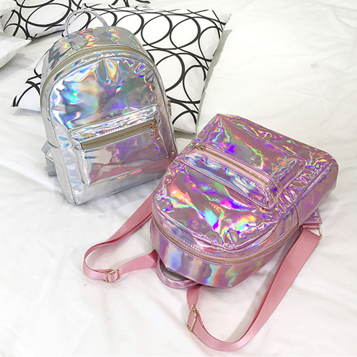 Silver Gold Pink Laser Backpack women girls Bag leather Holographic Backpack   school bags for teenage girls laser head owx8060 owy8075 onp8170