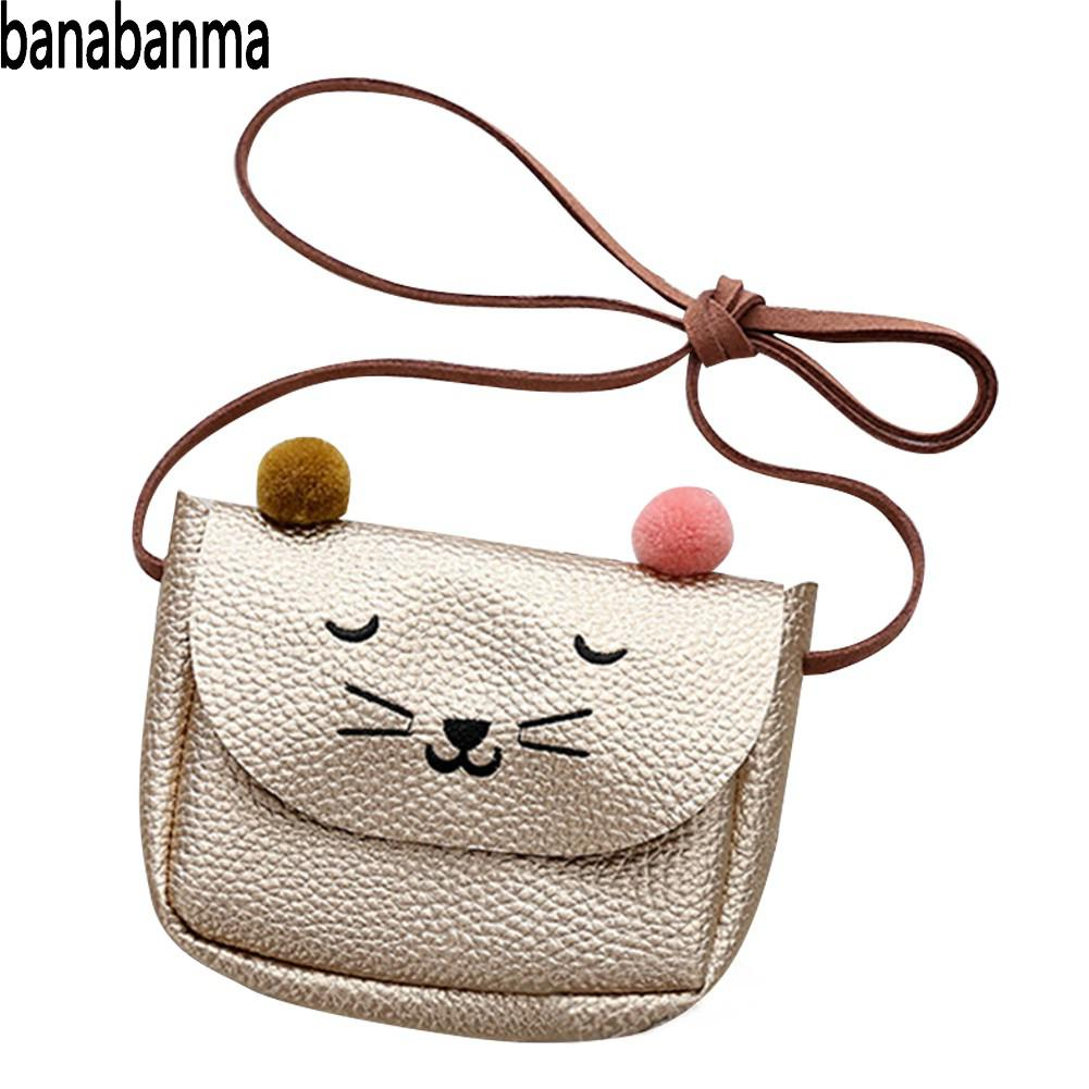 Banabanma Mini Handbag Cute Cat Ear Shoulder Bag Kids All-Match Key Coin Purse Cartoon Lovely Messenger Bags for Children ZK40 qzh cartoon kids children mini bags fruit messenger bags coin purse pouch handbags for kindergarten baby girls boys shoulder bag