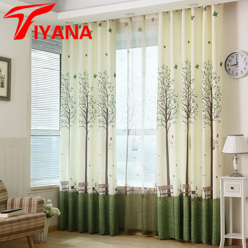 Cartoon Trees Curtains For Bedroom Cotton Linen Towel: Korean Linen Cotton Green Wish Tree Design Curtains For