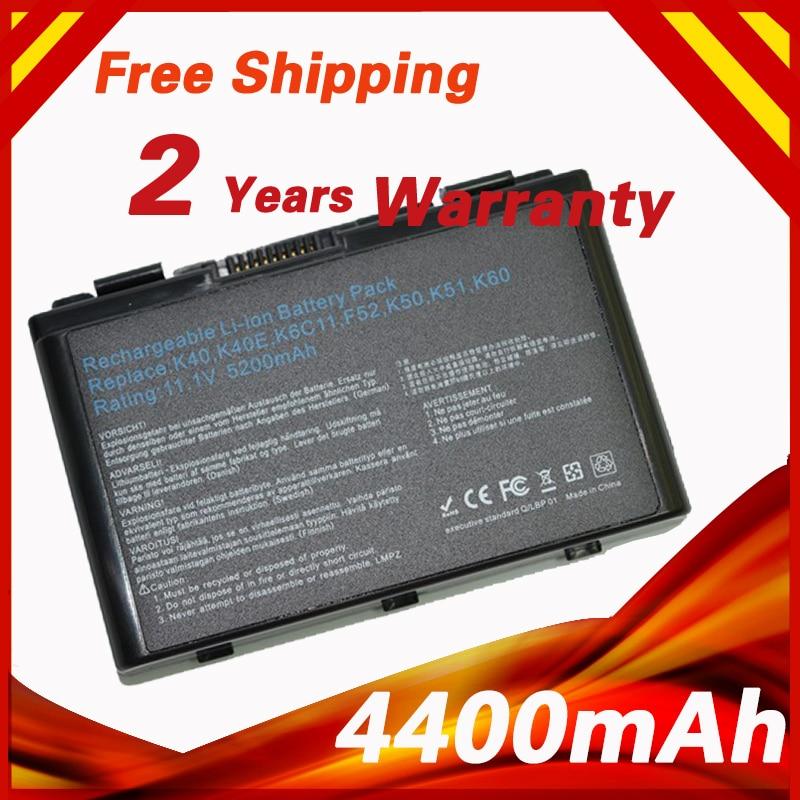 Laptop Battery for Asus A32-F82 A41 F52 F82 K61 K70 K40 K40E K40N K40lN K50 K51 K60 P81 X5A X5E X70 A32-F52 L0690L6 L0A2016 hsw 5200mah new 6cells k50in battery pack for asus k40 f82 a32 f52 k50 k60 l0690l6 a32 f82 k40in k40af k50ij bateria