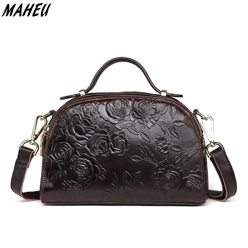 2017 New Flower Embossed Chinese Style Casual Women Shell Bag Genuine Leather Shoulder Crossbody Bag Double Zipper Mini Handbag